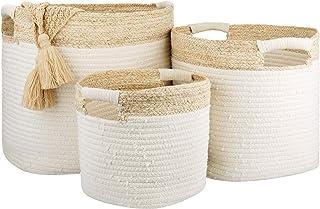 LA JOLIE MUSE 棉质绳索储物篮带玉米皮细节,可堆叠天然多功能收纳盒,家居装饰礼品,3 件套