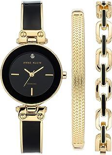 Anne Klein 女士高级钻石表盘手镯手表手链套装,AK / 3346WRST