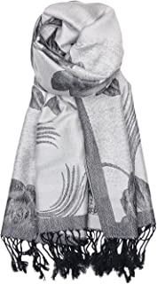 Achillea 双色花卉玫瑰双面羊绒围巾女式围巾披肩