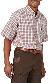 Wrangler Riggs Workwear 男士短袖 Foreman 格子工作衫 White/Rust Large Tall