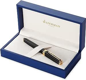 Waterman 威迪文 Exception 钢笔,纤细黑色,带 23k镀金笔夹,细笔尖,带蓝色墨囊,礼盒