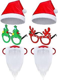 6 件圣诞老人胡须面罩服装假日圣诞老人帽子眼镜服装套装趣味圣诞老人假胡子脸覆盖闪光眼镜成人礼物圣诞派对圣诞服装用品