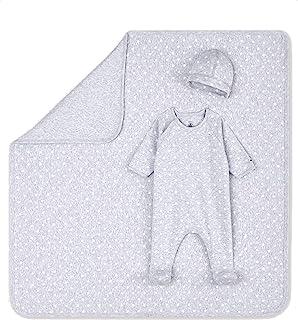 *中性款婴儿加热器灰色星星印花 3 件套婴儿全套套装(连袜装,帽子和毛毯)6 米