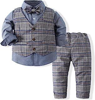 男孩 3 件套服装套装长袖蝴蝶结衬衫 + 背心 + 裤子休闲套装