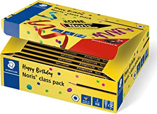 STAEDTLER 铅笔 Noris 系列文具盒 144 支不易碎 硬度 HB 和 3 支卷笔刀 高品质 德国制造 周年纪念包装 120 C144P1