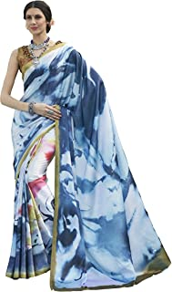 Fashion Burst 数码印花缎面丝绸面料印度纱丽女式  婚礼服装   派对服装   传统纱丽  穿着舒适   轻质纱丽白色