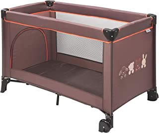 Nattou 婴儿旅行床 带便携套,120 x 60 x 75 厘米,* 聚酯 Marron/Motif animal
