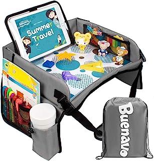 [ 新版 ] 汽车座椅收纳袋 儿童旅行托盘 适用于儿童幼儿汽车座椅、婴儿车、飞机等活动   触摸屏 iPad 支架   防水干燥擦顶   侧袋和水瓶架