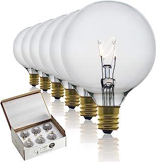 25 瓦蜡加热器灯泡适用于全尺寸芳香加热器和香薰燃烧器 - 25WLITE 替换灯泡白炽灯 E12 插座带/烛台无铅底座,透明 G16.5 (G50) - 6 件装