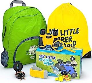 *户外探险套件,带儿童双筒望远镜,户外玩具包括放大玻璃、手电筒、指南针、哨子、男孩/女孩徒步背包,适合 6 岁以上儿童 (黄色)