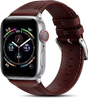 BRG 皮革表带兼容 Apple Watch 苹果手表表带 44 毫米 42 毫米 40 毫米 38 毫米,男式女式替换真皮表带,适用于 iWatch SE 系列 6 5 4 3 2 1,红带/银色适配器,40 毫米 38 毫米