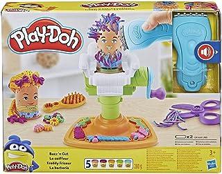 Play-Doh Buzz 'n Cut Fuzzy Pumper Barber Shop 玩具,带电动蜂鸣器和 5 种*的 Play-Doh 颜色,2 盎司罐装