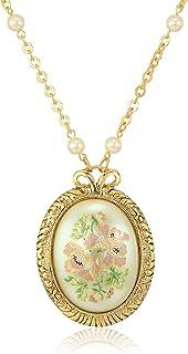 1928 珠宝女士金色大号椭圆形花贴花珍珠带珍珠和链吊坠项链,多色,30