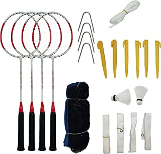 Aim 户外羽毛球拍 4 件套 – 全套羽毛球套装带网,适合初学者、家庭 – 包括包、羽毛球拍