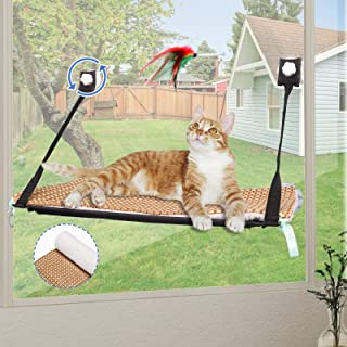 Pet Loving 猫窗吊床,猫窗栖息地猫床窗口,阳光明媚的窗户座位空间适用于毛毯/垫子和玩具,适合春夏