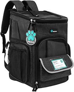 PetAmi 宠物背包适用于小型猫、狗、小狗 | 航空公司认可 | 透气、4 路入口、*和软垫背部支撑 | 可折叠,适合旅行、远足、户外 炭黑色 均码