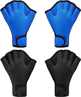 2 双游泳手套,水上贴合游泳训练手套,氯丁橡胶手套,网状健身防水训练手套,适合游泳潜水,带腕带