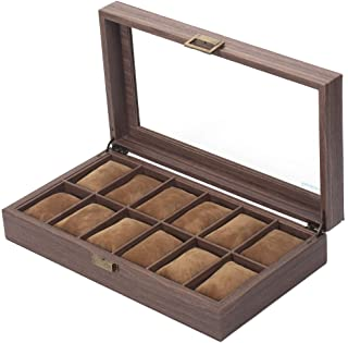 Readaeer 12 插槽 PU 皮革手表盒收纳盒带玻璃顶