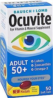 Ocuvite 眼部维生素和矿物质补充软胶囊 含锌、维生素 C、E、Omega 3、叶黄素和玉米黄质,50 粒