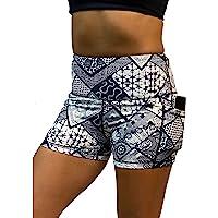 Epic MMA Gear 女式高腰瑜伽短裤 | 收腹 3 英寸(约 7.6 厘米)内缝,带侧口袋