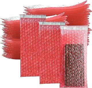 100 包小气泡袋,4 x 8 英寸(约 10.2 x 20.3 厘米)自密封气泡袋袋,气泡袋包裹保护双层缓冲袋,用于移动运输包装储存易碎玻璃电子物品