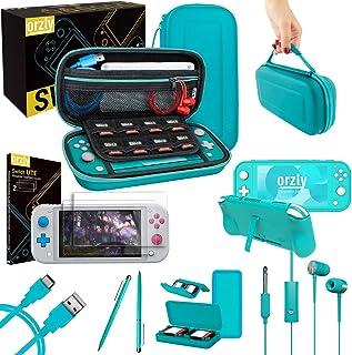 Orzly Switch Lite 配件包 - 适用于任天堂 Switch Lite 控制台、USB 电缆、游戏支架、舒适握持保护套、耳机、拇指握包等 蓝色