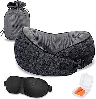 旅行颈枕,CSJT * 纯*泡沫旅行枕,360 度可调节,舒适透气和支撑,适合*休息,飞机-汽车-办公室和家庭使用(黑色)