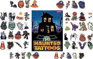 儿童万圣节临时纹身贴 - 50 片装 1.75-1.5 英寸*纹身贴纸,适合男孩和女孩,适合万圣节派对礼品、零食、装饰、礼品袋 - 50 种不同设计