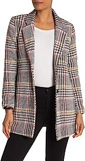 Sebby 女式 Glen 格子双纽扣梭织外套 | XL 码 | 白色/黑色