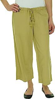 Ralph Lauren Lauren Lauren 女士短款亚麻纯色舒适长裤,S 码,卡其色