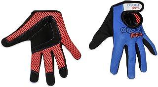 KIDDIMOTO 儿童自行车全指手套 - 适用于儿童自行车、平衡自行车、滑板车和滑板(女孩和男孩手套)| 有不同尺寸和设计可供选择(蓝色,S 码)