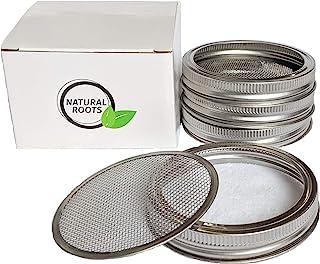 Sprouting 盖子 - 4 件装 316 不锈钢 * 无锈 适用于广口梅森罐盖套件,Sprout Fresh *西兰花籽、芒豆、苜蓿种子、扁豆、萝卜等(不含种子)