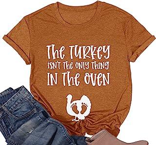 感恩节孕妇 T 恤女式 The Turkey Ain't The Only Thing in The Oven 衬衫孕妇趣味图案上衣