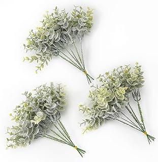 Raylking 人工桉树绿植物喷雾盒套装适用于灰蓝色,灰粉色婚礼花束和桌面*婚礼中心装饰布置装饰,18 件植绒桉树花束