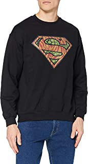 DC Comics 男式 DC0001036 官方超人野徽标圆领长袖运动衫