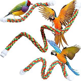 3 件鸟绳栖息地旋转绳鲈鱼支架弹力鸟玩具适用于鹦鹉玩具多色鸟笼玩具,适用于小长尾鹦鹉、锥体、金刚鹦鹉,3 种尺寸(21.7 英寸,31.5 英寸,41.3 英寸)