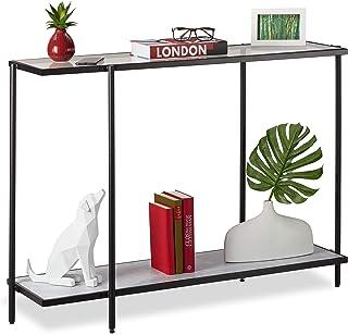 Relaxdays 控制台桌带 2 个架子,玻璃和大理石外观,客厅和走廊,80 x 110.5 x 36厘米,黑色/白色,1 件