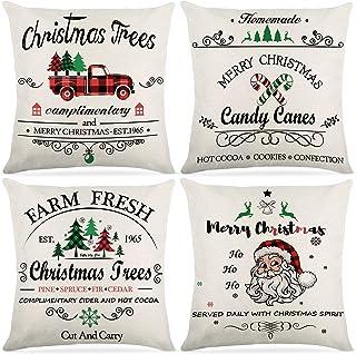 圣诞枕套 45.72 x 45.72 厘米,4 件套棉麻圣诞系列抱枕枕套装饰农舍枕头靠垫套沙发沙发床家庭冬季装饰