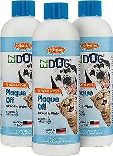 EZDOG Plaque Off 清新**饮用水添加剂 适用于猫狗   适合所有猫和狗的*佳水添加剂 16 盎司(约 473.2 克) - 3 件装