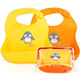 NatureBond 硅胶婴儿围兜易于擦拭清洁,带防水袋(2 件)