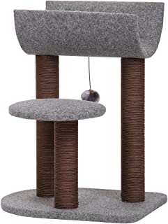 PetPals 猫树 猫塔 猫咪活动,带抓纹玩具球,灰色
