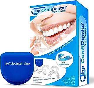 The ConfiDental - 5 件装可塑形牙齿磨牙牙咬合、擦牙、运动、*托盘,包括 3 个常规和 2 个重型护齿(3 个(LL)常规 2 (II)重型护齿)