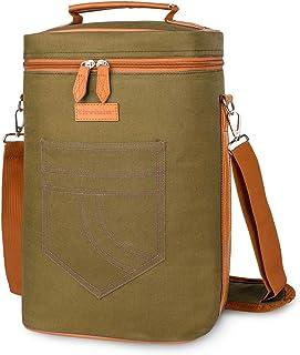 Tirrinia 4 瓶酒袋 - 绝缘和加垫便携式多功能葡萄酒携带冷藏手提袋适用于旅行、BYOB 餐厅、葡萄酒品尝、派对、送给葡萄酒爱好者的*礼物,卡其色