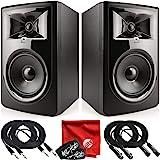JBL Professional 306P MkII 下一代 6 英寸 2 路供电工作室监听音箱套装,带 2 根 10…