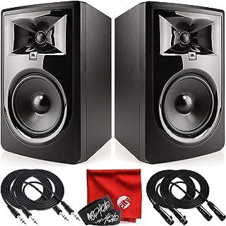 JBL Professional 306P MkII 下一代 6 英寸 2 路供电工作室监听音箱套装,带 2 根 10 英尺 TRS 电缆,2 根 10 英尺 XLR 电缆,2 根扎带和超细纤维布