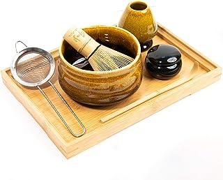 Veristic Accents - 传统日式抹茶套装(7 件) - 带陶瓷茶碗和正宗天然竹搅拌 - 完美的绿茶抹茶入门套装 - 4 种精致颜色