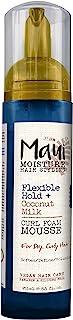Maui Moisture Flexible Hold + 椰子牛奶卷发泡沫慕斯,适用于卷发造型,无干燥酒精、对羟基苯甲酸酯或硅胶,8.5 盎司