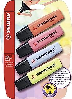STABILO BOSS Original Pastel 荧光笔 4 件装 珊瑚红 樱花 粉色 云蓝 柠檬绿