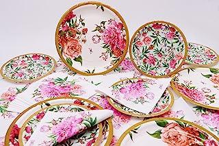 Garden Luau 派对用品,复古花卉蛋糕盘餐巾,复古花卉设计花园主题一次性餐具派对礼品非常适合茶会儿童生日派对装饰和迎婴派对(16 位客人)