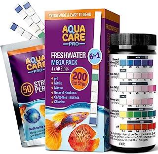 淡水水族箱试纸 6 合 1 - 鱼缸测试套件,用于测试 pH 亚硝酸盐氯普通和碳酸盐硬度 (GH & KH) - 易于阅读宽条和全水测试指南,200 Ct